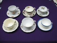 LOT OF 6 VINTAGE TEA CUPS AND SAUCERS - ALL DIFFERENT - AND IN GOOD CONDITION