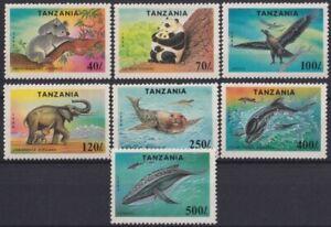 F-EX24246 TANZANIA MNH 1994 PANDA BEAR KOALA WHALE DOLPHIN BIRD ELEPHANT.