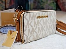 NWT MICHAEL KORS Jet Set Travel M/F Phone Crossbody Wallet In VANILLA/ACORN $188