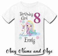 Personalised unicorn mermaid face t shirt tshirt top girls birthday any name age