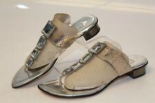 Bernardo MISMATCH size 7 6 M Womens NEW Metallic T-Straps Slides Sandals Shoes