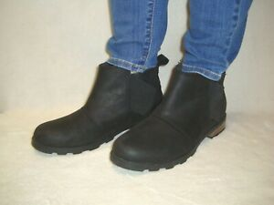 SOREL EMELIE CHELSEA BLACK LEATHER WATERPROOF BOOTIES SIZE 8B ( FITS 7.5B )