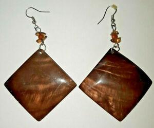 Huge Brown Shell Earrings iridescent diamond shaped large natural boho beach sea