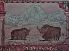 Nepal 2012 Five Rupee Yak & Mt. Everest (Tibet other side) Unc Banknote Low Ship