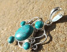 Handmade in India ~ silver plated turquoise cabochon fancy design pendant
