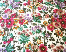 Antique Floral Cotton Fabric ~ Gorgeous Hues ~ Magenta Aqua Blush Mauve Violet