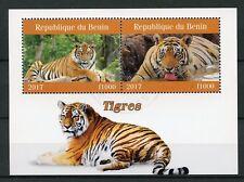 Benin 2017 CTO Tigers 2v M/S II Tigres Big Cats Wild Animals Stamps
