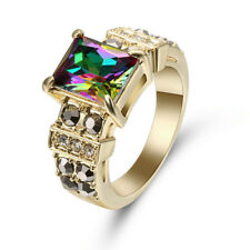 Jewellry Size 8 Woman Rainbow Sapphire 10K Gold Filled Band Engagement Ring