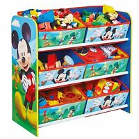 MICKEY MOUSE 6 BIN STORAGE UNIT - KIDS CHILDRENS TOYS BOOKS GAMES STORAGE