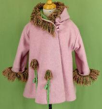 226 Corky & Company girl fuzzy faux fur trim winter coat jacket hood pink EUC 3