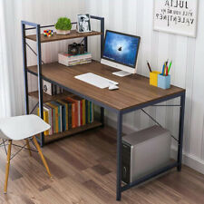 Wood Computer Desk with 4 Tier Shelves Modern PC Laptop Study Table Home Office
