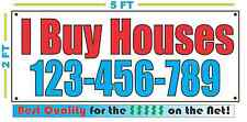 I BUY HOUSES w Custom Phone # Banner Sign NEW Larger Size Best Quality for The $