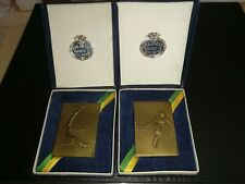 Tennis bronze medals Hungary 2 pieces in original boxes 1930's RARE