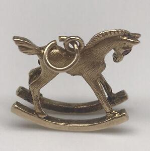 9ct Gold Rocking Horse Rare Charm Bracelet Necklace Pendant 375 9k