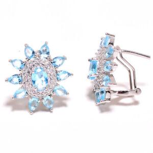 "Blue Topaz & White Topaz 925 Sterling Silver Handmade Earring Jewelry 0.90"" F536"