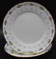 "(2) Richard Ginori Capri Dessert Plates Pink Roses Blue Flowers Gold 7-1/2"""