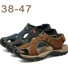 New Men's Casual Sports Leather Sandals Closed Toe Hook&Loop Outdoor Beach Shoes