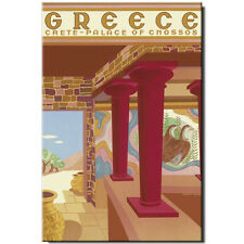 Fridge magnet Vintage Travel Poster: Greece Crete Palace of Knossos