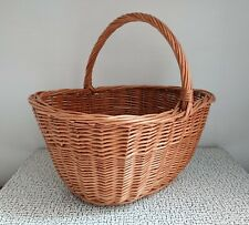 60s 70s Vintage Retro Wicker Shopping Basket Picnic Garden Storage Display
