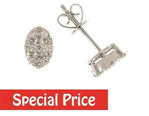 Solid 14K White Gold 0.51 CT Real Marquise Cluster Diamond Stud Earrings Jewelry