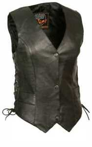 Milwaukee Leather Women's Classic Side Lace Vest w/ Classic Snaps ML1254