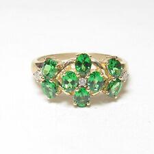 Estate 10K Yellow Gold Natural Oval Green Tsavorite Garnet Diamond Ring 1.75 Cts
