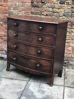 Victorian Bow Fronted Mahogany Chest Of Drawers