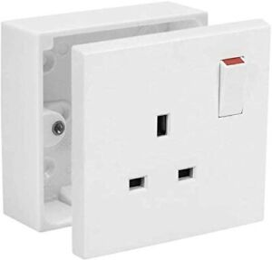 SHP Electrical 1 Gang Single 13A Switched Wall Socket 25mm Surface Pattress Box