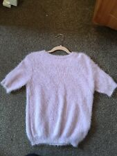 Women's Faux Fur Cropped Jumper, Miss Selfridge, Lilac, Size 12