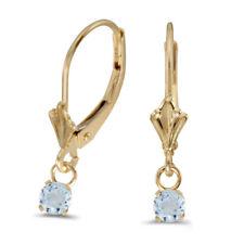14k Yellow Gold Round Aquamarine Lever-back Earrings