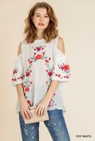 Umgee Floral Embroidered Cold Shoulder Puff Sleeve Crochet Trim Top Size S M
