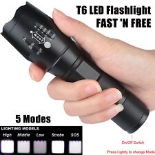 90000LM 5 Modes LED Flashlight Zoomable 18650 Rechargeable Focus Torch Light USA