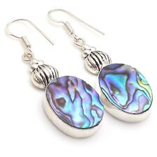 "Plated Dangle Earring 2"", S-12550 Abalone Shell & 925 Silver"