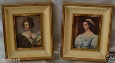 "Pair of Lovely Antique Women Prints w. Beige & Gold Finish Vintage Frames 10x12"""