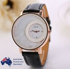 Luxury Black Gold Moving Crystal Women Leather Analog Quartz Wristwatch Hot Gift