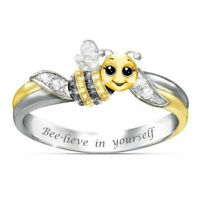 Yellow Animal Bee Ring ''Bee Lieve In Yourself'' 925 Silver Plated Crystal Ring