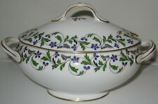 Aynsley Thistle Blue Green Leaves Oval Sauce/Small Tureen Bowl with Lid