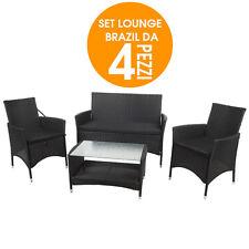 Lounge Set Brasil in Rattan Completo da Arredo Giardino 4 Pezzi con Cuscini