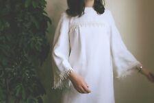 Vintage 70s Wedding Dress Babydoll Shift Pom Pom Fringe Train 6 8 Xs S Crew Neck