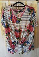 m t s size M/L floral knit v-neck  tie front top.