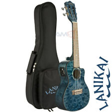 Lanikai QM-BLCEC Quilted Maple Blue Satin Concert Acoustic Electric Ukulele