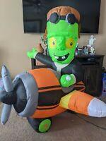 Gemmy Frankenstein plane inflatable airplane pilot Xmas Halloween lawn decor