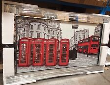 Red Bus & Telephone Boxes on Mirrored Frame Wall Mirror 100x60cm Home Decor