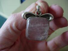 optical rose quartz silver pendant LA 2
