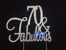 70 & Fabulous SILVER Cake Topper Birthday Party Decor Rhinestone Crystal