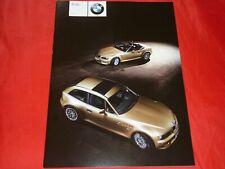 BMW Z3 E36/7 E36/8 Roadster Coupe 3.0i Prospekt Brochure Depliant Folleto 2000