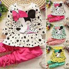 2pcs Kids Baby Girl Clothes Set Minnie Dot Sweatshirt Tops+Pants Cartoon Outfits