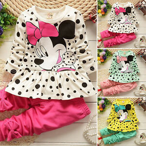 Kids Girls Minnie Mouse Long Sleeve Ruffle Tops Pants Trousers Set Casual Outfit