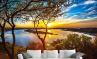 3D Sunny Sunset Landscape Self-adhesive Living Room Wallpaper Wall Murals Decor