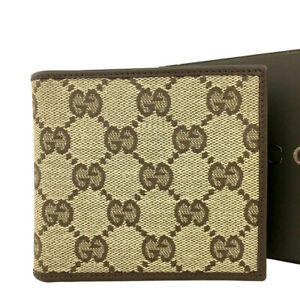 GUCCI GG Logo  Beige Canvas Leather Bifold Wallet /B2304